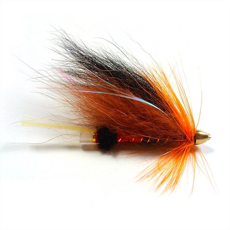 [4PCS] Cone Head Tube Fly Orange Salmon Steelhead Fishing Flies
