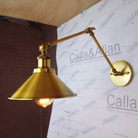 Swing arm sconce lamps with long arm Industrial Articulating Brass Wall Lamp for workroom Bathroom Vanity Lights porch lighting