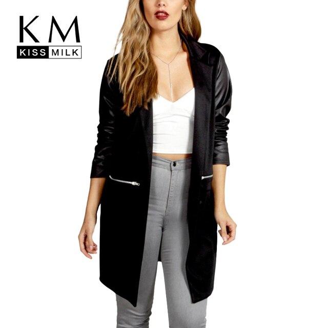 Kissmilk Плюс Размер 2017 Женская Мода Теплое Пальто Черный Улица стиль Случайный Регулярный Большой Размер Пальто Твердые Лоскутная ПУ Куртка 6XL