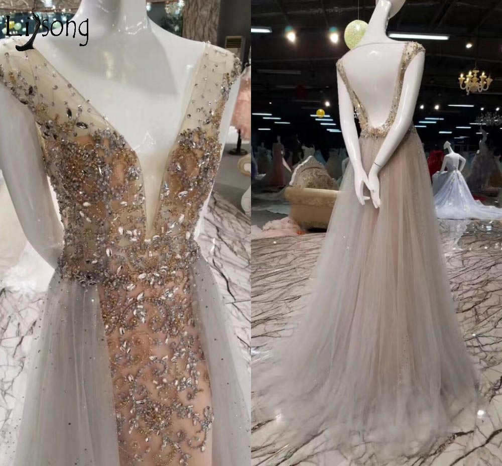 Sexy Backless Long Evening Dresses Abiye Shiny Crystal Rhinestone ...