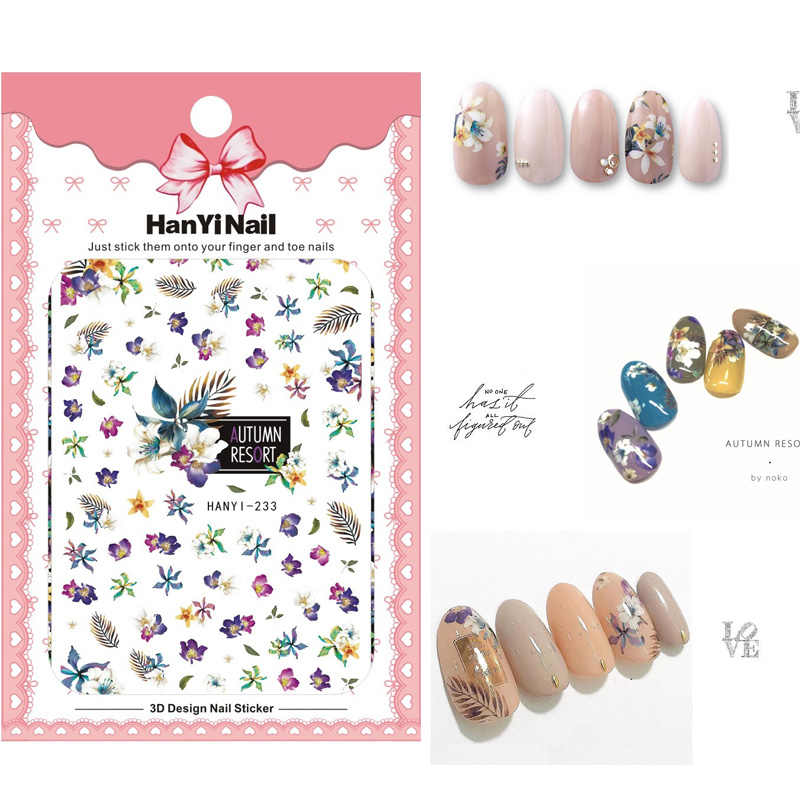 HY233-241 New Arrival Self-stick Nails Art Sticker Nail Wrap Sticker Tips Autumn Resort Leaves Skull Rose Manicura stickers