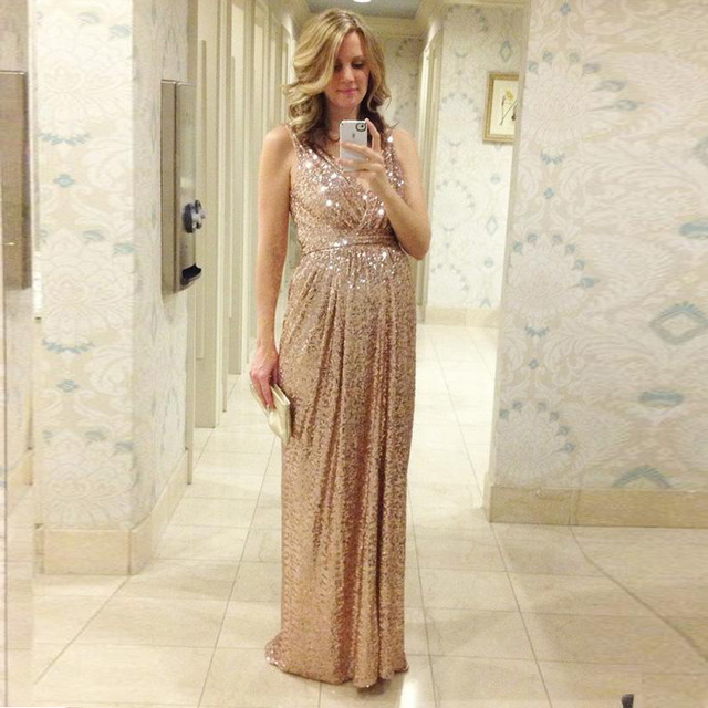 Sequin Bridesmaid Dress 2016 V Neck Ruched Sheath Modest Champagne Gold  Cheap Wedding Party Long Prom Pregnant Evening Gown 64ab742179e5