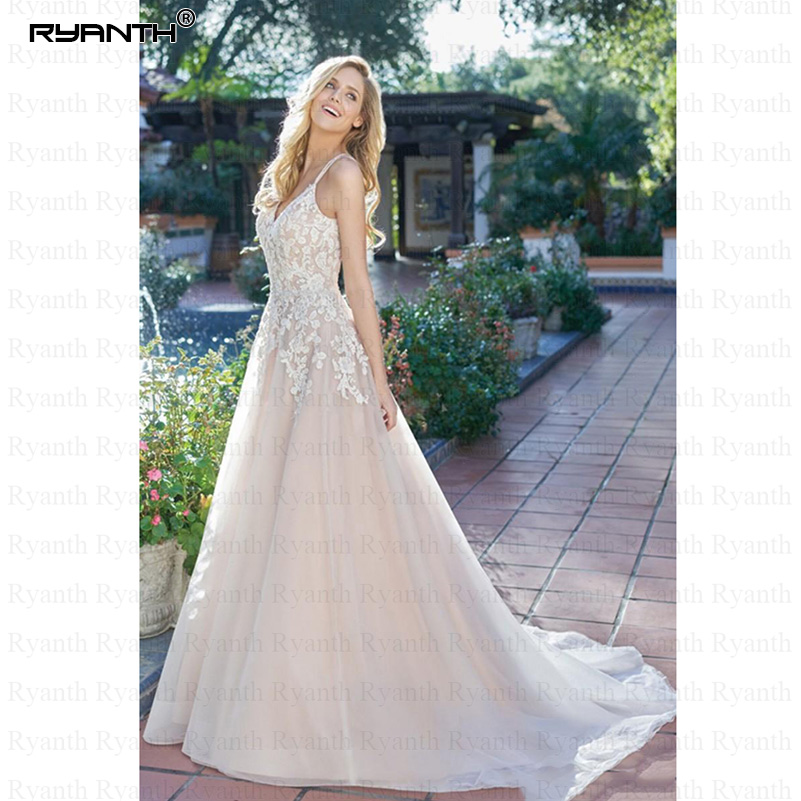 Simple Wedding Dress Spaghetti Straps Appliques A Line Tulle Backless Boho Wedding Gown Sexy V Neck