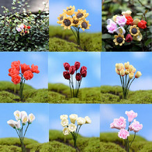 1 Pcs DIY Accessories Miniature Sunflower Rose Flower Fairy Garden Home Houses Decoration Mini Craft Micro Landscaping Decor(China)