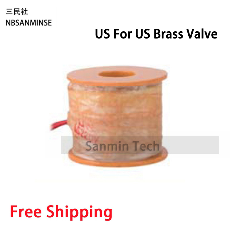 Pneumatic Control Air Electrical Solenoid Valve Coil DC12V DC24V AC110V AC220V For US Steam Brass Valve Sanmin
