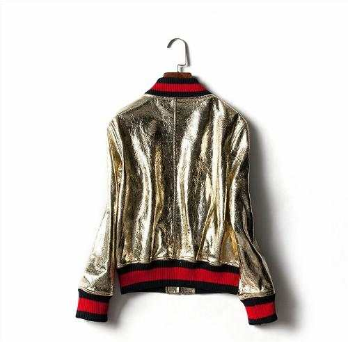 27aafcd22 US $44.99 10% OFF|2018 Milan Fashion Show New Cool Jacket Punk Ladies Gold  Silver Baseball Uniform Bomber Jacket Women Faux Leather Runway Jackets-in  ...