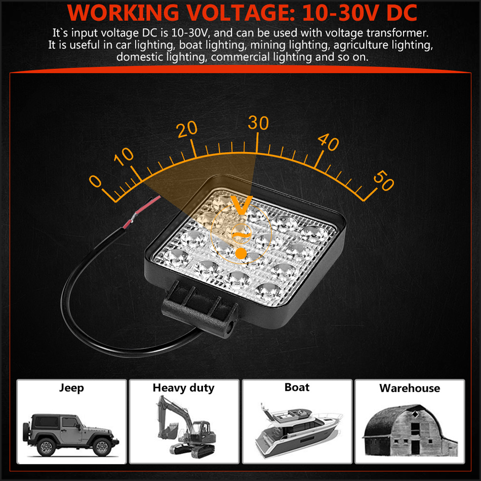 RACBOX 4 inch 48W Square LED Work Light High Power Spotlight Floodlight For 4x4 Offroad ATV UTV Truck Tractor Motorcycle lights