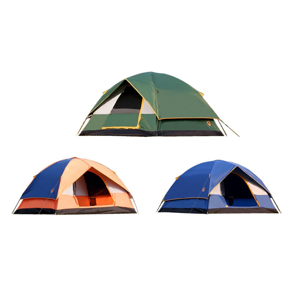 3-4 Persons Double Layers Hiking Tent Thickened Silver Plating Oxford Cloth Tent Outdoor Camping Tent CS056 Beach Camping Tent outdoor camping hiking automatic camping tent 4person double layer family tent sun shelter gazebo beach tent awning tourist tent