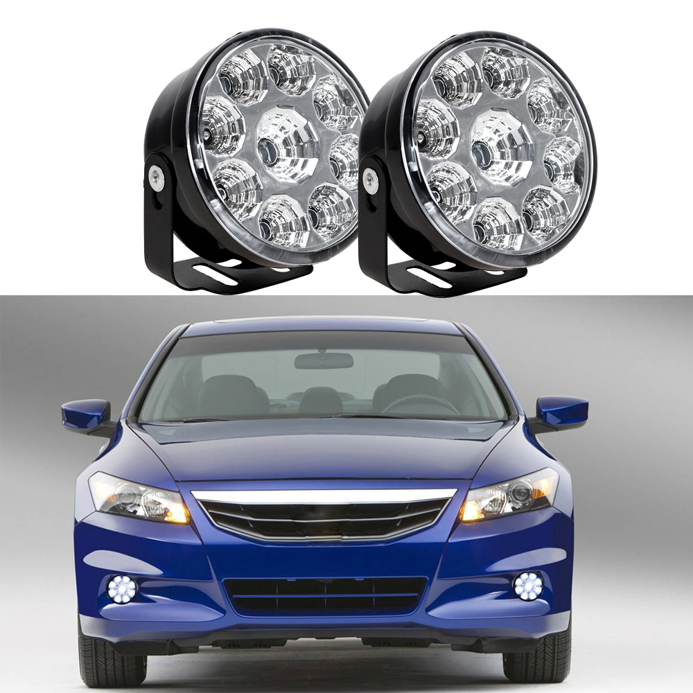 2pcs LED Car Fog Lamp Round Super Bright DRL Daytime Running Light for Ford Focus Honda Nissan Auto Driving Light Car-styling 1pcs high power h3 led 80w led super bright white fog tail turn drl auto car light daytime running driving lamp bulb 12v