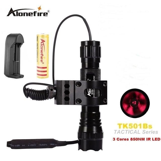 Alonefire lanterna led de 501b 5w, infravermelho ir 850nm, visão noturna, flash luz, para caça