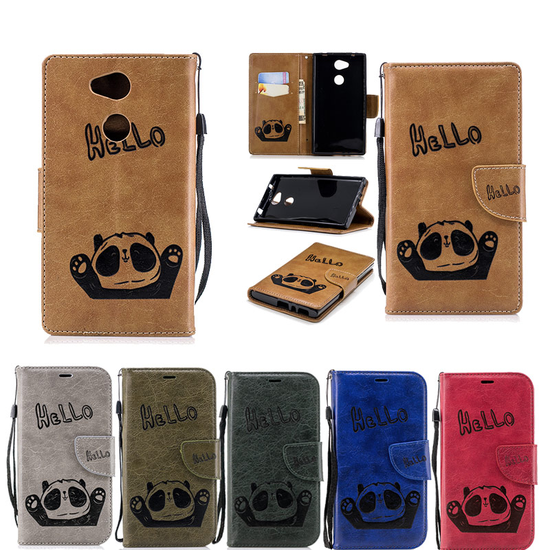Flip Case For Sony Xperia L2 Case Hello Panda Emboss Wallet Leather Case For Sony Xperia ...