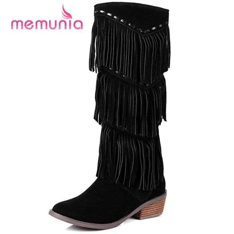 Pour Memunia mollet Hiver Épais 33 Lacets 43 Femmes noir Vache Mi Taille Brown Nouveau Mode Talon Med En Grande 2018 Bottes Gland Daim Sans PrOqFxPw