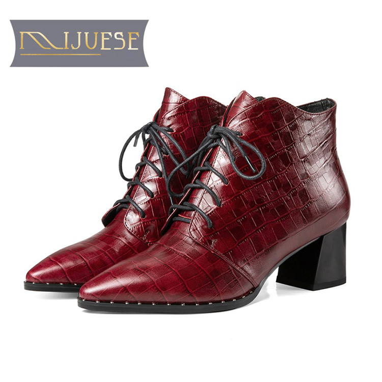 MLJUESE 2019 women ankle boots cow leather lace up wine red pointed toe high heel boots