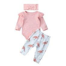 Nueva moda infantil bebé mameluco manga larga o-cuello Tops + Pantalones  largos Flamingo 3 piezas ropa conjunto trajes a59968a21092