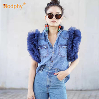 2019 summer new personality mesh yarn lotus sleeve high quality denim shirt women's casual short sleeved shirt party shirt