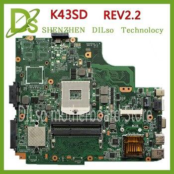KEFU K43SD  laptop motherboard for ASUS K43SD K43E A43E K43SV K43SJmianboard original without GPU DDR3 slot Test motherboard