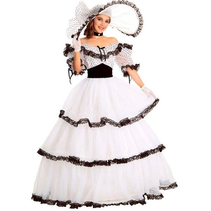 Sud belle costume robe victorienne costume adulte halloween costumes pour femmes blanc guerre civile robe boule lolita robe personnalisée