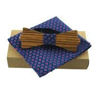 Mantieqingway Madeira Novidade Gravata borboleta Bowties Gravatas Lenço Para Homens Capina Clássicos de Madeira De Madeira Feitos À Mão gravata borboleta Lenço Conjuntos