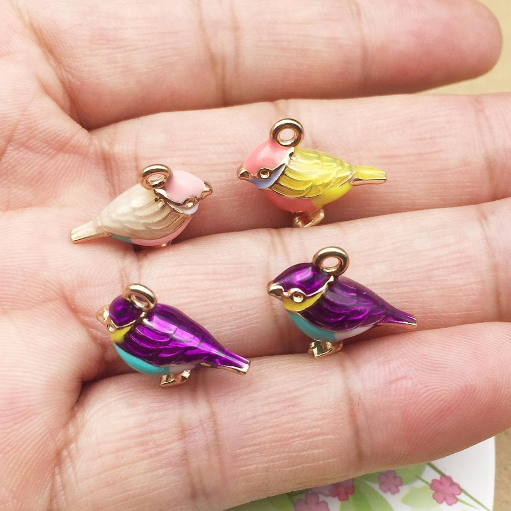 10pcs Japanese 3D Cute Bird Leaf Enamel Charms Connector Fit Necklace Bracelet Earrings DIY Fashion Jewelry Findings Accessory