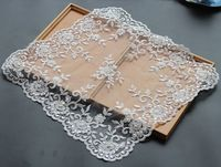 Free Shipping Luxury Beaded Lace Tablecloth Handmade Sheet Doilies Alencon Lace Mat Top Cover
