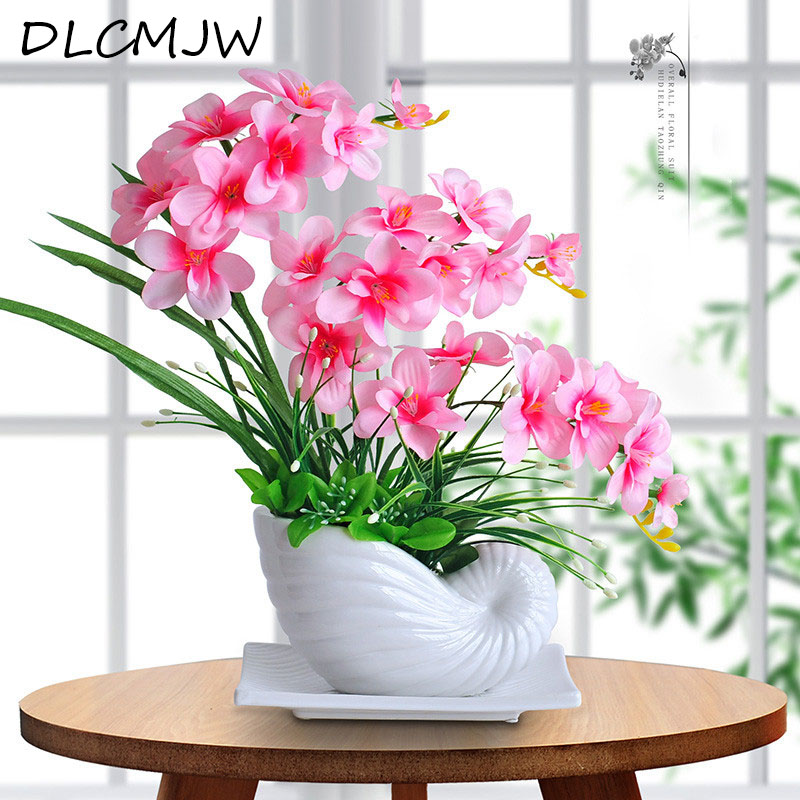 Artificial flowers Butterfly Orchid ceramics Bonsai Silk Flowers Decoration Fake flowers for Wedding Home desktop Decotation