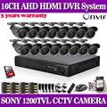 16 unids 1.0mp ahd dvr 960 h sony 1200tvl cctv sistema de cámaras de seguridad h.264 16 canales AHD DVR Kit HDMI 1080 P NVR sistema usb 3g wifi