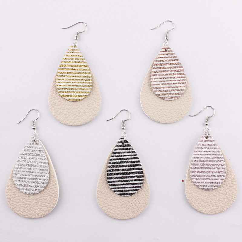 2019 New Glitter Stripe Layered PU Leather Water Drop Earrings for Women Fashion Spring Silver PU Leather Earrings Wholesale