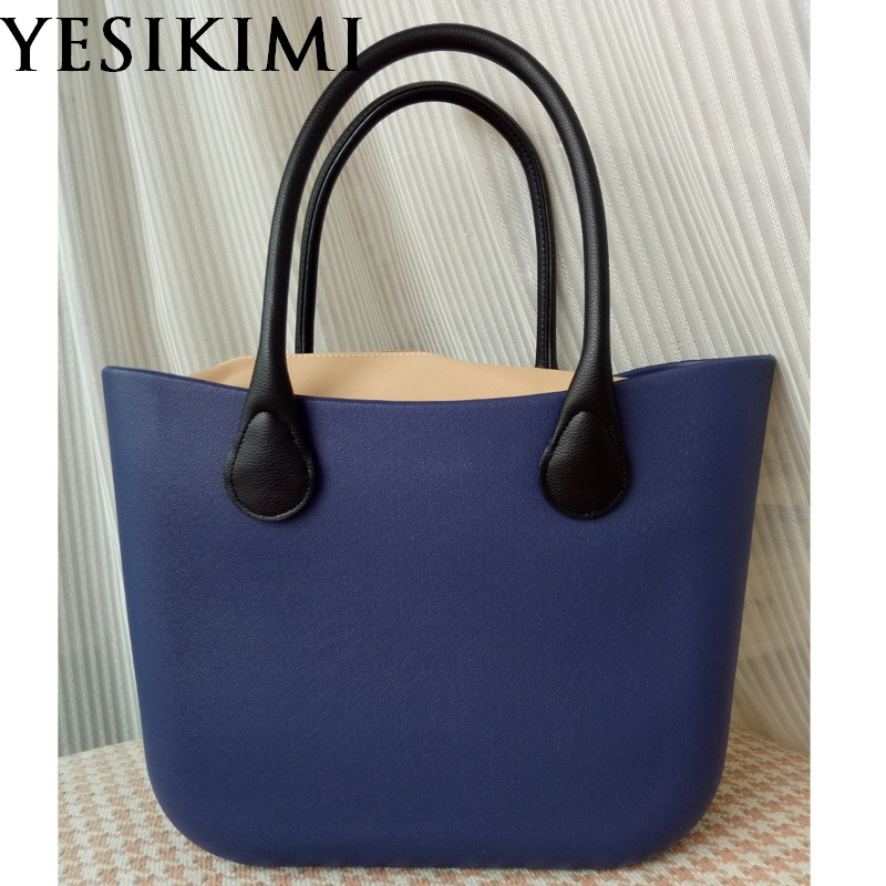 Blue Silicone Bag Women Bucket bags O Casual Tote Summer Beach Purses 42CM Silica Handbag Design Bolsas With Khaki Insert Bag