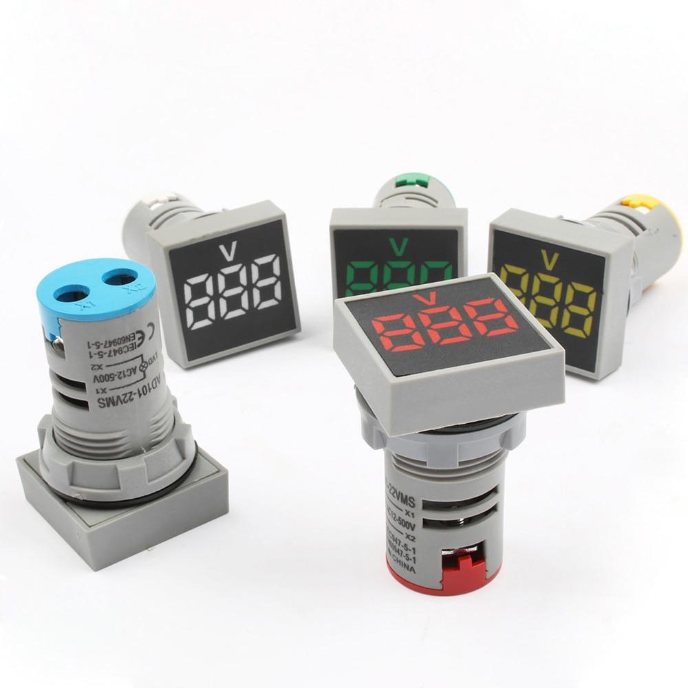 22 мм квадратный диапазон измерения переменный ток 12-500 В вольт 0-100A вольтметр Индикатор Сигнальная цифровой амперметр colorf