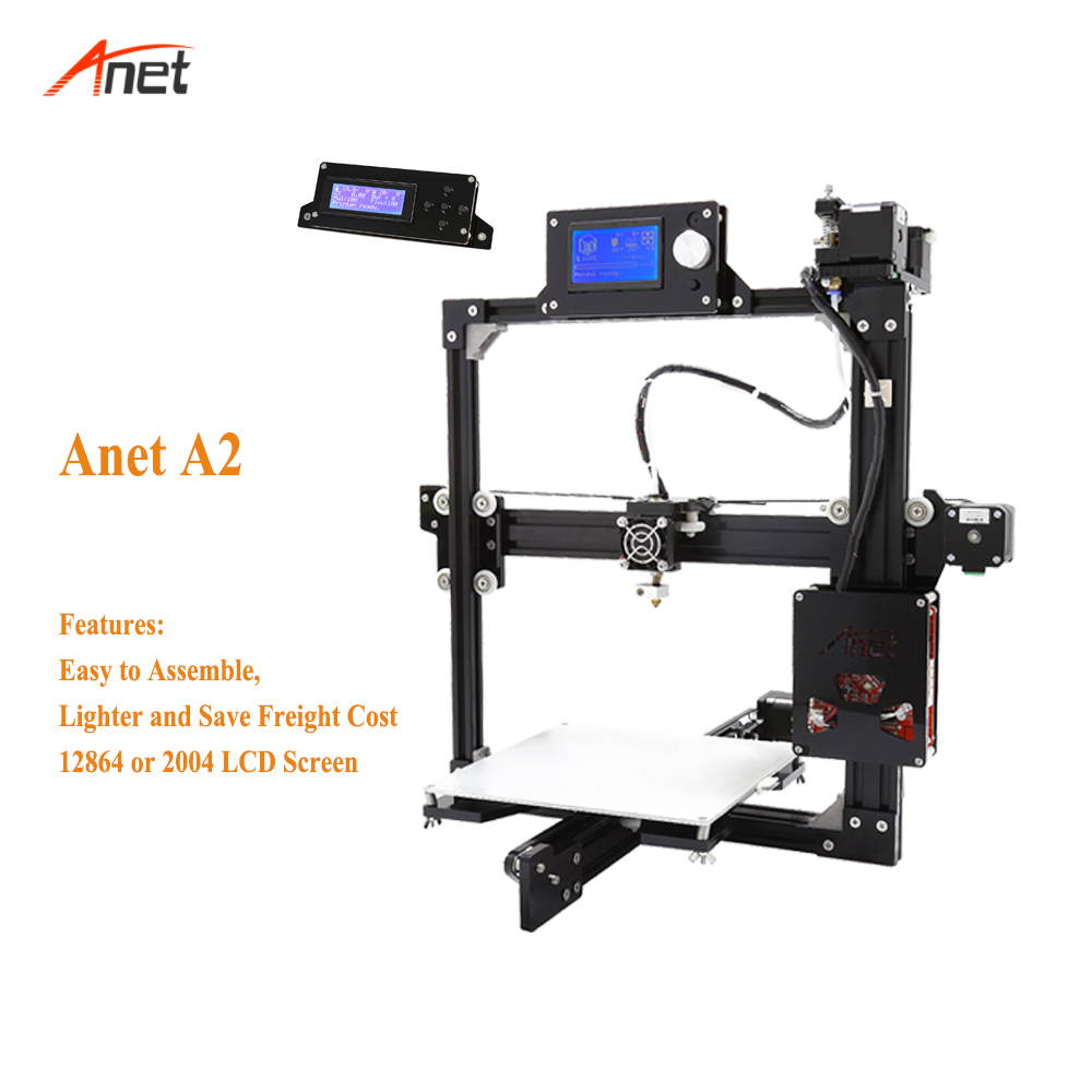 Anet A2 Support 1.75mm PLA ABS 3d impression haute qualité 3d Drucker meilleure précision facile à utiliser 12864/2004 LCD Impressora 3d