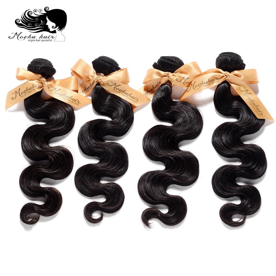 Mocha Hair 10A Brazilian Virgin Hair Body Wave 4 Bundles Natural Color 100 Human Hair Weaving