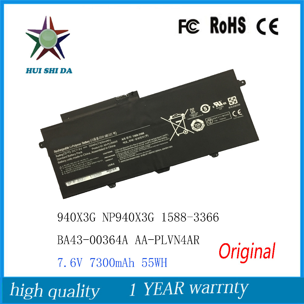 7.6V 7300mAh New Original Laptop Battery for SAMSUNG 940X3G NP940X3G 1588-3366 BA43-00364A AA-PLVN4AR lmdtk new 6cells laptop battery for samsung nc10 nc20 nd10 n110 n120 n130 n135 aa pb6nc6w 1588 3366 aa pb8nc6b free shipping