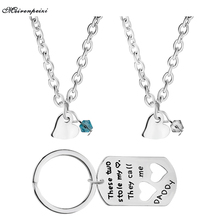 These Two Stole My Heart.They Call Me Daddy Birthstone Dog Tag Key Chain&Necklace Personalized Hand Stamped Fathers Day Gift