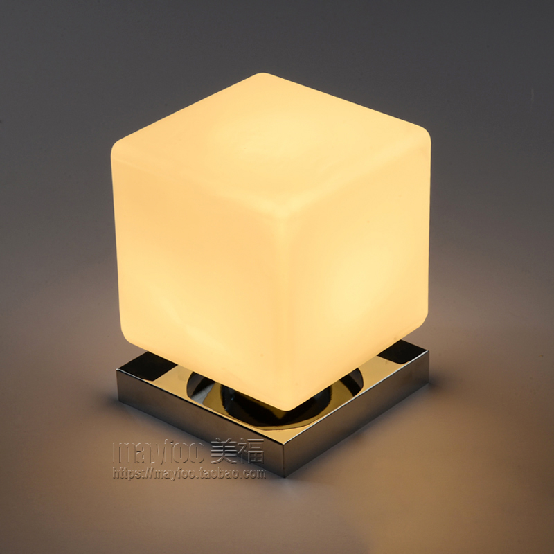 Original creative Table Lamps personality square lamp touch Japanese white  glass desk lamp bedside bedroom desk LU62355 ZL402 in Table Lamps from  Lights. Original creative Table Lamps personality square lamp touch