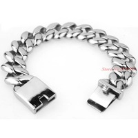 21mm Wide Gold Or Silver Curb Link 316L Stainless Steel Bracelet Mens Chain Fashion Jewelry Free shipping