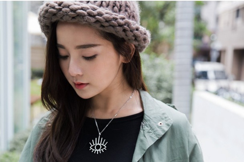 Metal hollow out the eye pendant necklace fashion stereo contracted mysterious symbols luck eyes short necklace in Chain Necklaces from Jewelry Accessories