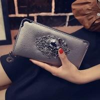 מכירות חמות לנשים ארנקים באיכות גבוהה עור PU אופנה ארנק ארוך נקבה ארנקים כרטיס HolderSTskulls כסף