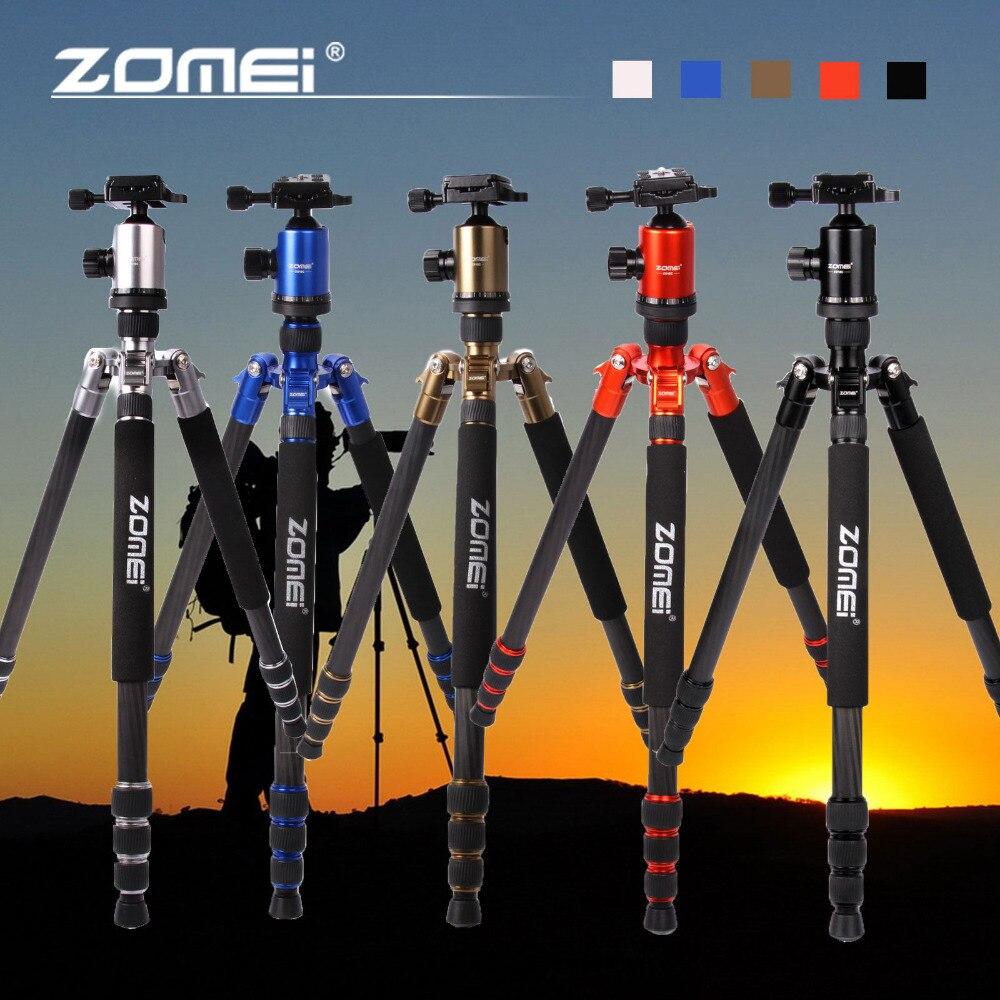 Zomei z818c profissional de fibra carbono viagem portátil câmera tripé bola cabeça tripé suporte para canon nikon slr dslr câmera