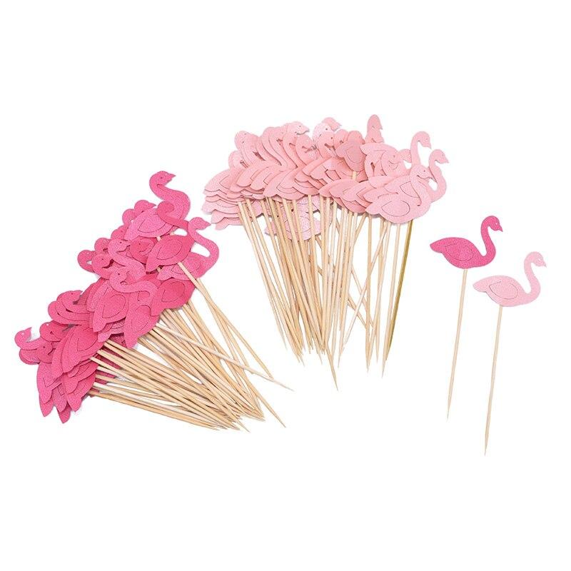 2019 Nieuwste Ontwerp 20 Stks/partij Mini Flamingo Cupcake Toppers Bruiloft Tafeldecoraties Kinderen Verjaardagsfeestje Baby Shower Cake Top Vlaggen Cake Decoratie Jaarlijkse Koopjesverkoop