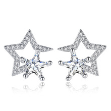 Promotion 925 sterling silver fashion shiny crystal star ladies`stud earrings jewelry female gift Anti allergy drop shipping