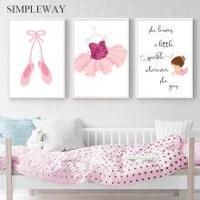 Little Princess Ballet Shoes Nursery Quotes Poster Canvas Print Wall Art Decoration Picture Painting Baby Girl Bedroom Decor(China)