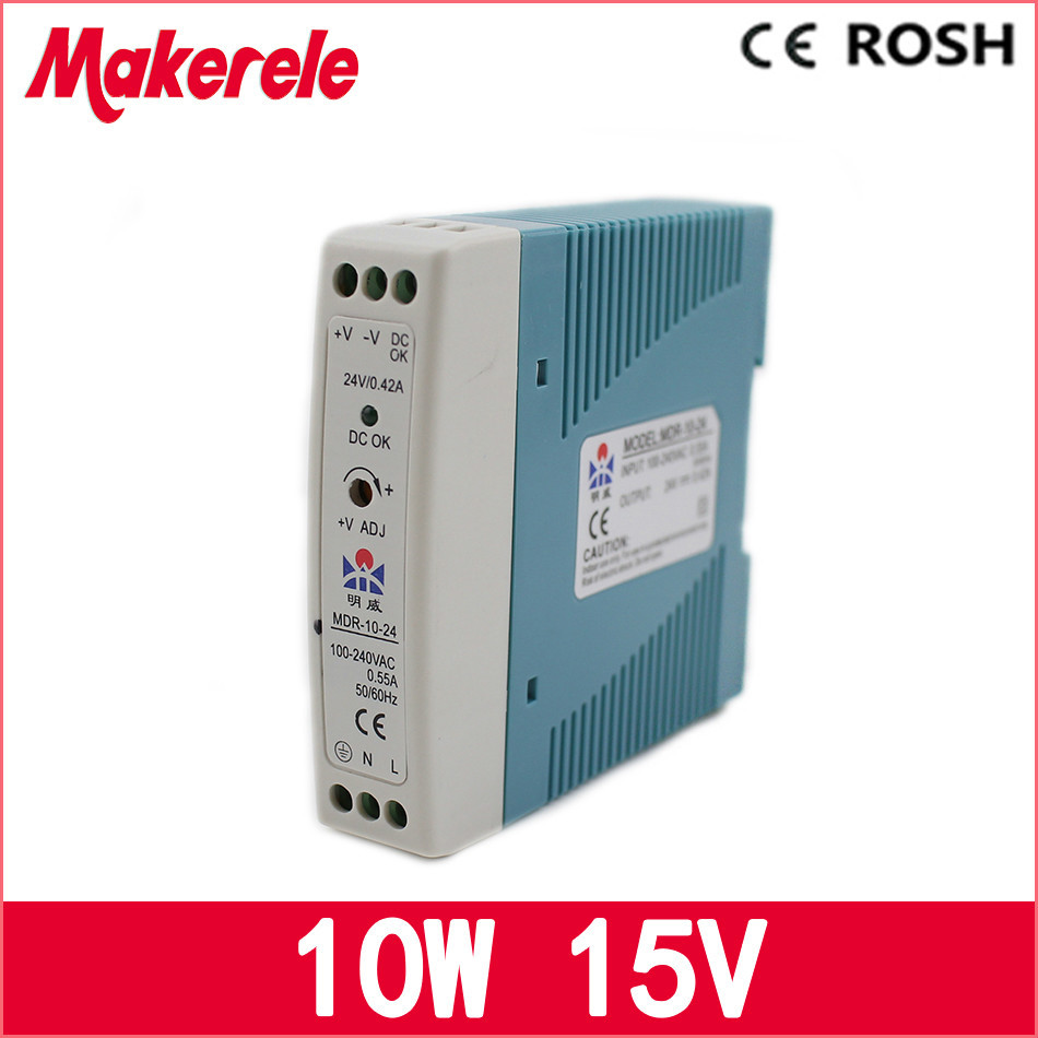 MDR-10-15 10w Din Rail switching power supply 0.67a 15v ac dc Power Supply with Ce Approved mdr 10 5 din rail switching power supply mini size 10w 2a 5v ac dc power supply with ce