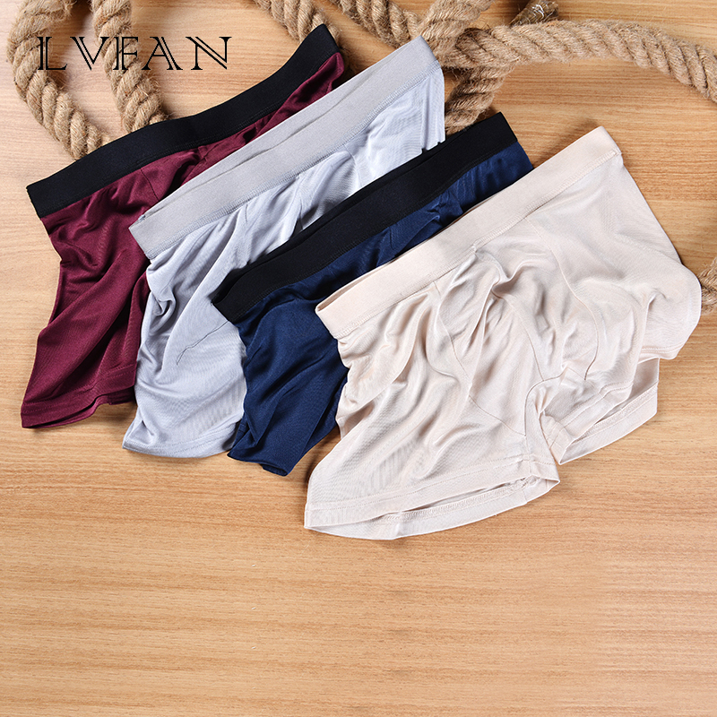 4 Color Men's Flat Pants Fashion Waist Boxer Silk Mulberry U Convex Design Breathable Panties Breathable Panties LVFAN  K014