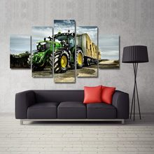 5 Pieces Canvas Green Big Tractor On Farmland Canvas Picture Painting Decor Print Poster Wall Art(China)