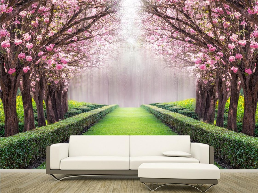 Custom 3d Photo Wall Paper Flowers And Beautiful Scenery Avenue Classic  Painting 3d Mural Wallpaper