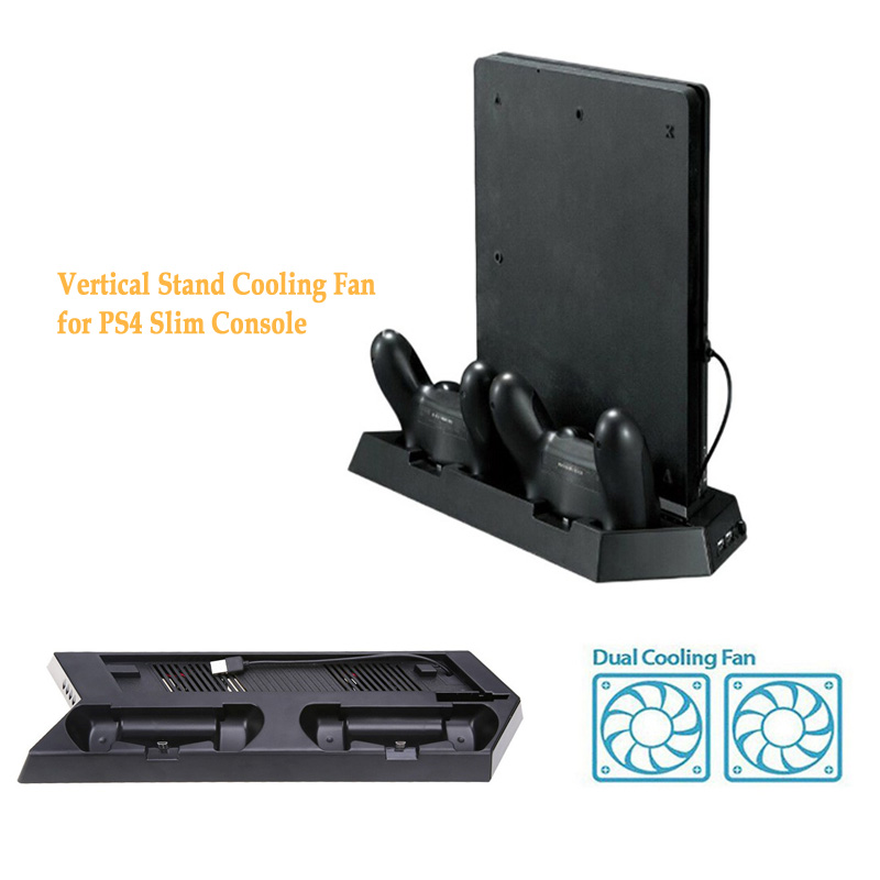Vertical Stand Cooling Fan For PS4 Slim Console Gamepad Cooler Dock Mount With Dual Charging Station 3000RPN USB Gaming Cooler