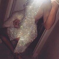 2017 Fashion Flashing Colourful Rhinestone Dress Low Cut V Neck Party Club Sexy Backless Dresses