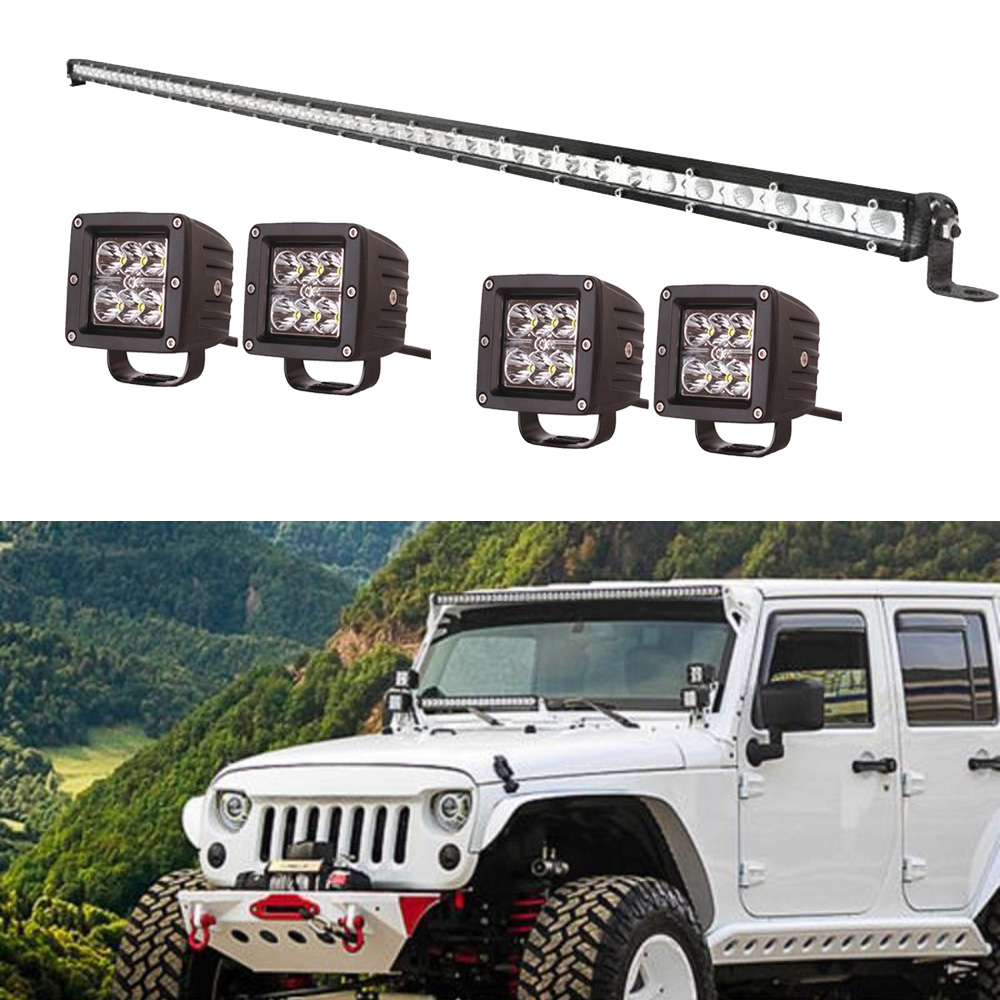50inch 144W Signle Row Slim LED Light Bar Combo + 4pcs 3inch Square Cube Pods Led Work Light Lamp Fit for Jeep Truck SUV TRUCKS видеоигра бука saints row iv re elected