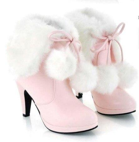O Envio gratuito de sapatos de salto alto grosso das mulheres do salto de moda martin botas botas de neve botas de pele de coelho rosa sapatos de casamento preto branco