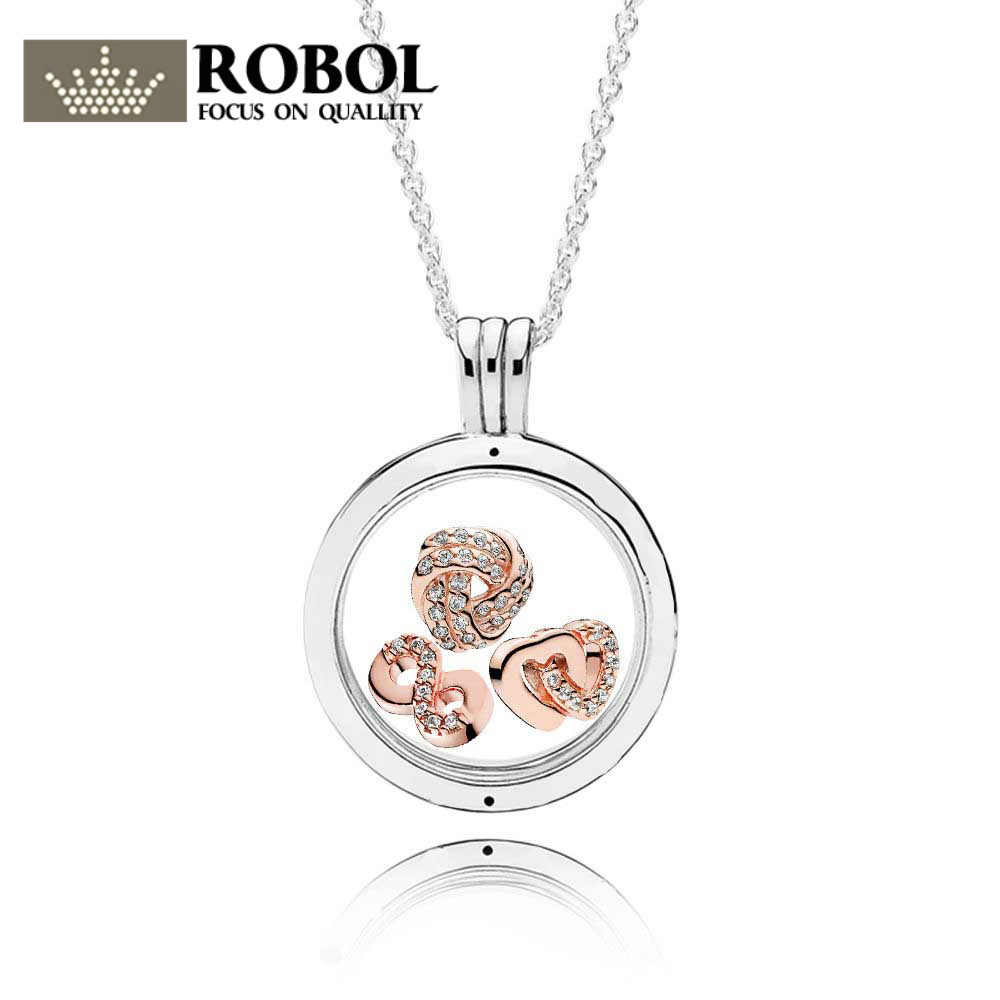 100% 925 Sterling Silver ROSE INFINITE LOVE FLOATING LOCKET GIFT SET fit charm original Necklace jewelry A set of prices